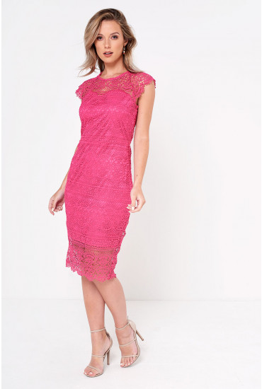 Rene Fitted Crochet Dress in Cerise
