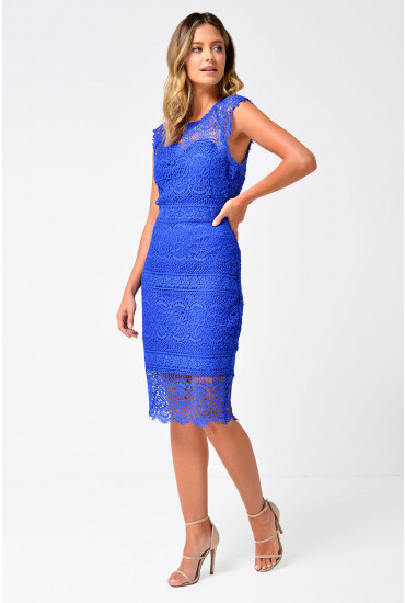Rene Fitted Crochet Dress in Blue