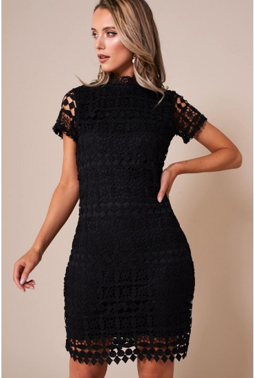 Bowery High Neck Lace Pencil Dress in Black