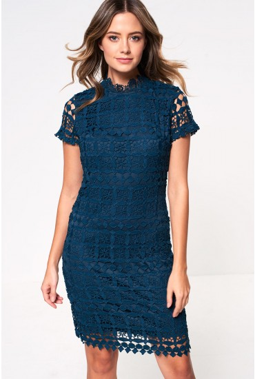 Bowery High Neck Lace Pencil Dress in Teal