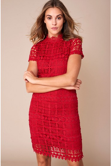 Bowery High Neck Lace Pencil Dress in Red