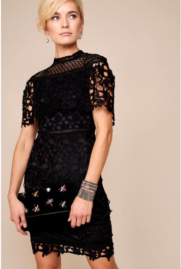 Tina Shawl Sleeve Crochet Dress in Black