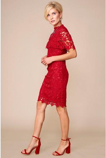 Tina Shawl Sleeve Crochet Dress in Wine
