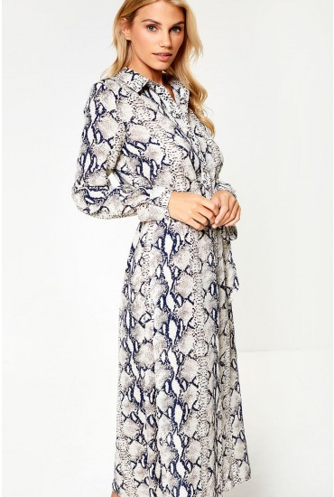 Dina Midi Dress in Navy Snakeskin Print