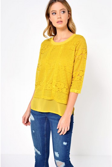 Pamela Lace Chiffon Top in Mustard