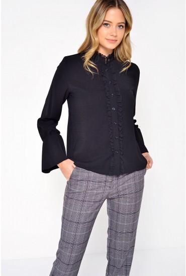 Helen Frill Shirt in Black