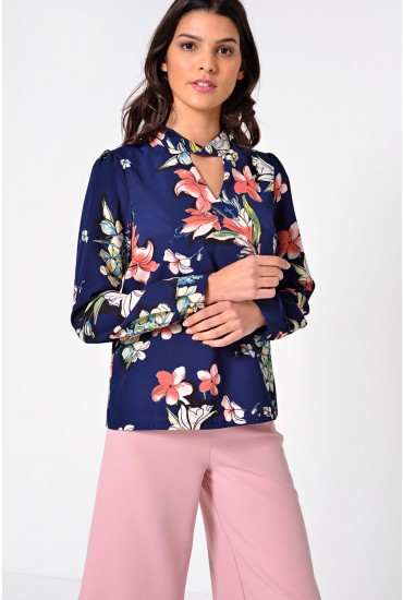 Trixie Floral Choker Top in Navy