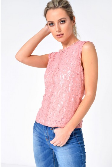 Jorja Lace Top in Pink
