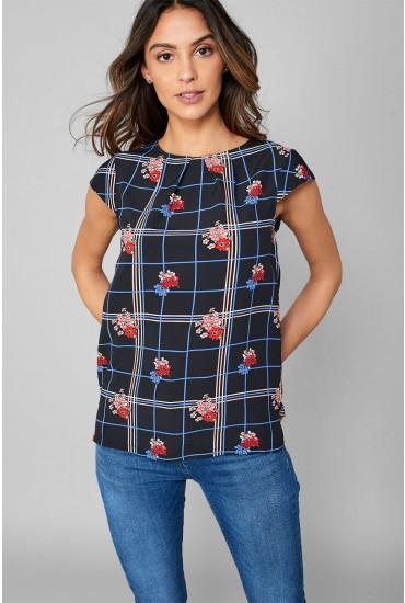 Gamila Cap Sleeve Top in Black Floral