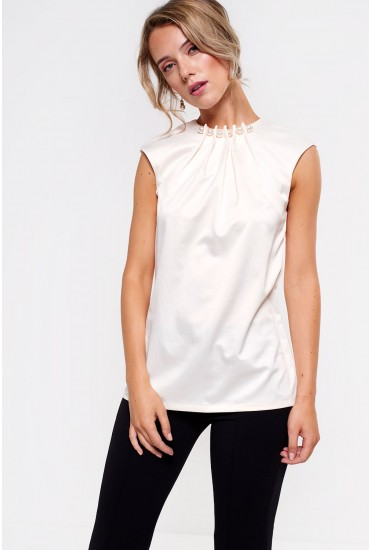 Trinny Pearl Detail Top in Ivory