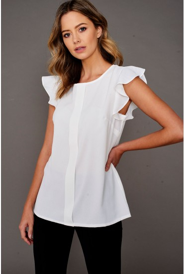 Monja Frill Cap Sleeve Top in Off White