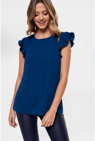 Monja Frill Cap Sleeve Top in Teal