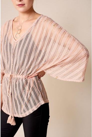 Rachel Mesh Foil Print Top in Blush