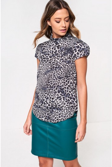 Millie Top with Frill Neck in Grey Animal Print