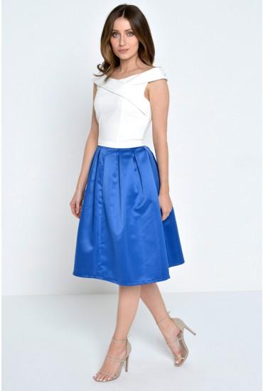 Angela Plain Pleated Skirt in Royal Blue