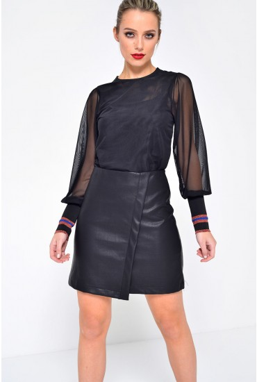Tess Faux Leather Skirt in Black