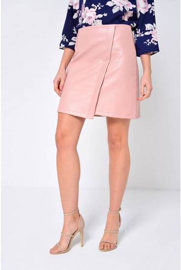 Tess Faux Leather Skirt in Blush