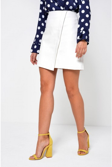 Tess Faux Leather Skirt in White