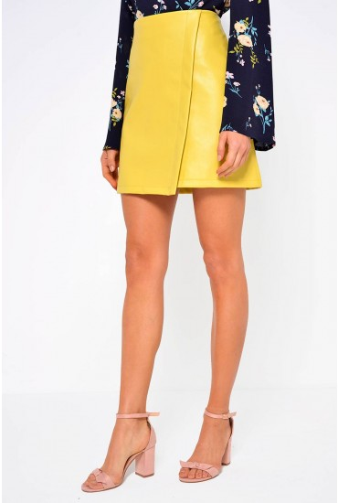 Tess Faux Leather Skirt in Yellow