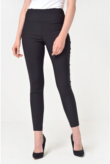 Mavis Fitted High Waist Trousers in Black