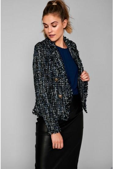 Naomi Short Boucle Blazer in Blue