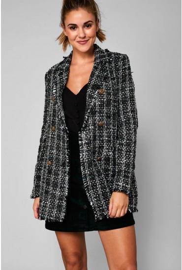 Ariel Boucle Blazer in Black