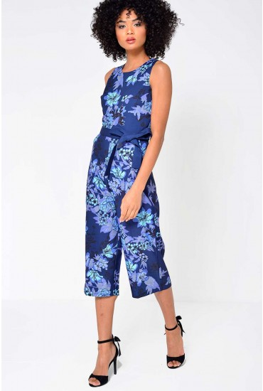 Belinda Culotte Jumpsuit in Navy and Purple