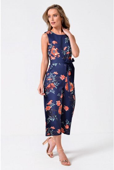 Belinda Floral Culotte Jumpsuit in Navy and Orange