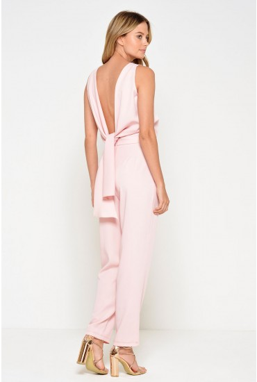 Kelly Knot Back Jumpsuit in Blush