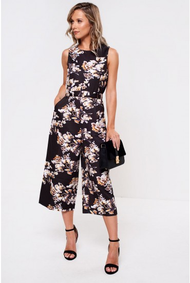 Layla Floral Longline Jumpsuit in Black