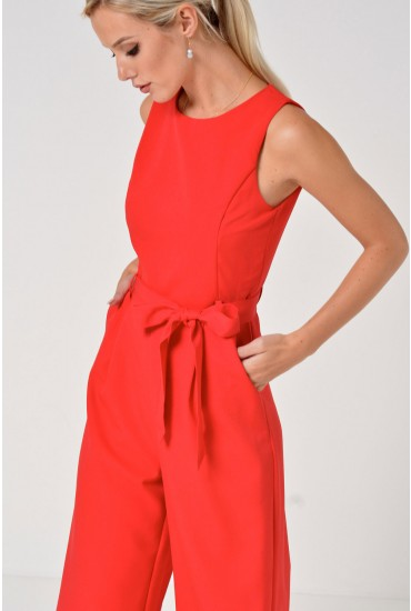 Layla Longline Culotte Jumpsuit in Red