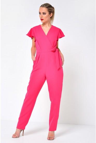 Nora Flounce Shoulder Jumpsuit in Pink