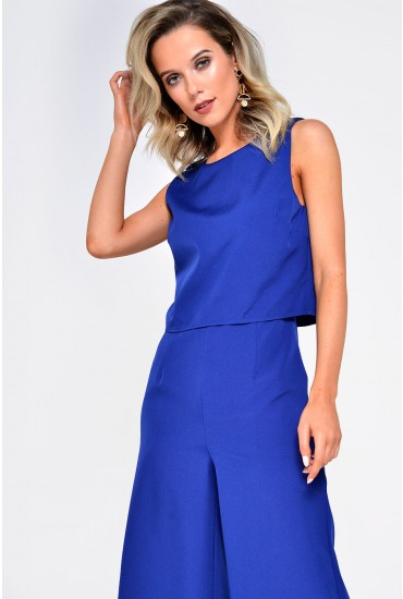 Helen Overlay Jumpsuit in Dark Blue