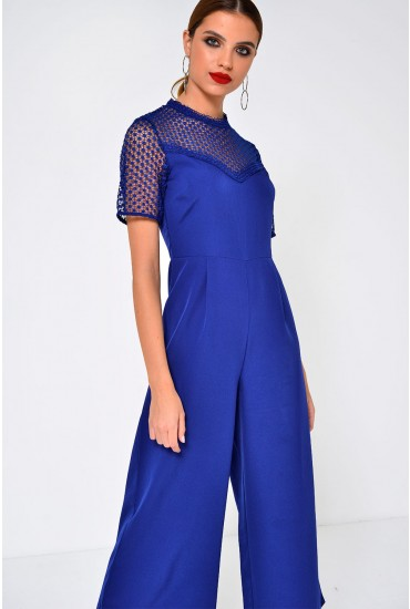 Ling Crochet Jumpsuit in Royal Blue