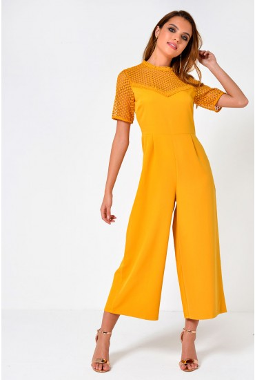 Ling Crochet Jumpsuit in Mustard