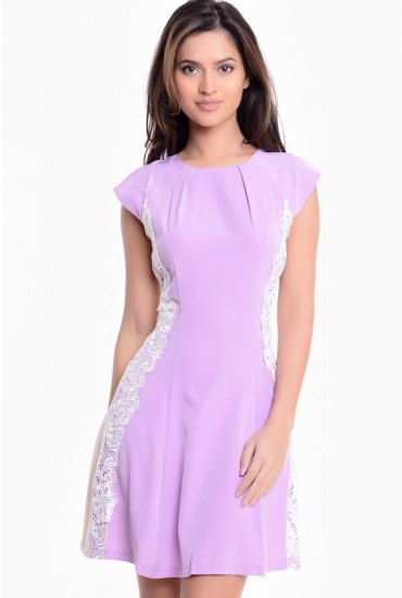 Sabrina Lace Panel Dress in Lilac