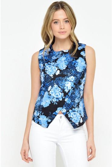 Nadia Floral Top in Blue