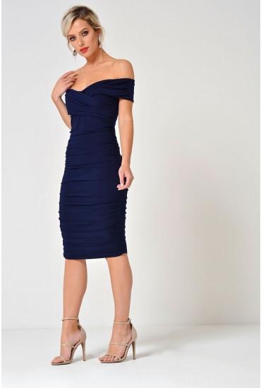 Katlyn Ruched Bardot Dress in Navy