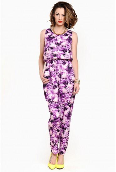 Una Cloud Print Jumpsuit in Purple
