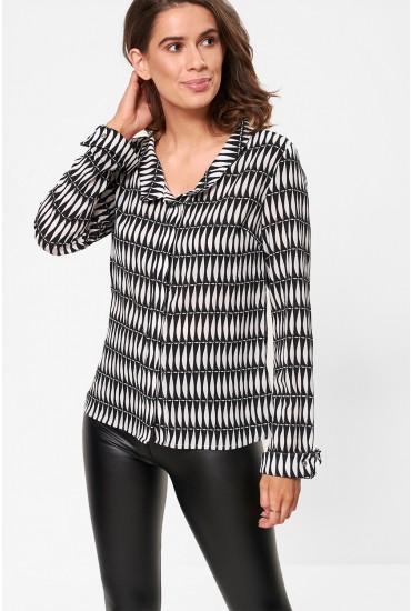 Marie Long Sleeve Top in Monochrome
