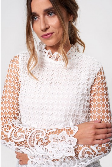 Mariosa Long Sleeve Crochet Top in White