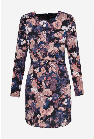 Marlene Long Sleeve Short Dress in Black Floral Print