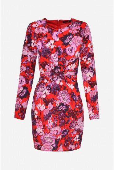 Marlene Long Sleeve Short Dress in Red Floral Print