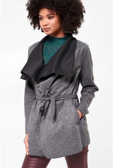 Martha Long Sleeve Coatigan in Grey