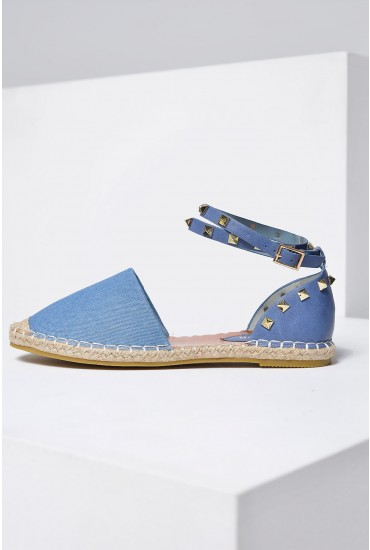 Nina Studded Ankle Strap Espadrilles in Light Denim