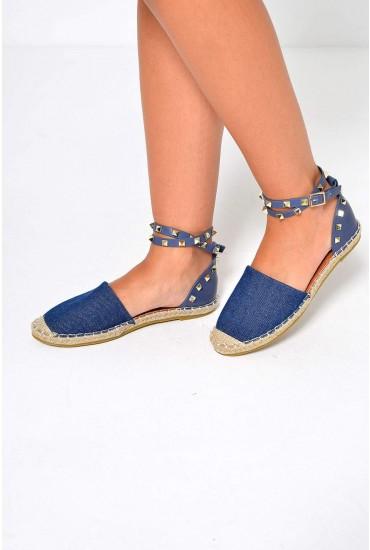 Nina Studded Ankle Strap Espadrilles in Dark Denim