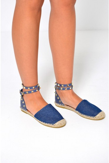 Nina Studded Ankle Strap Espadrilles in Dark Denim