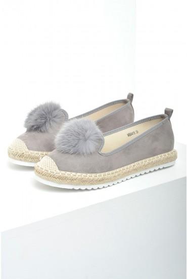 Mili Pom Pom Espadrille Loafers in Grey Suede