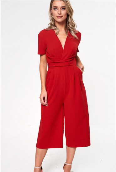 Megan Short Sleeve Culotte Jumpusit in Red