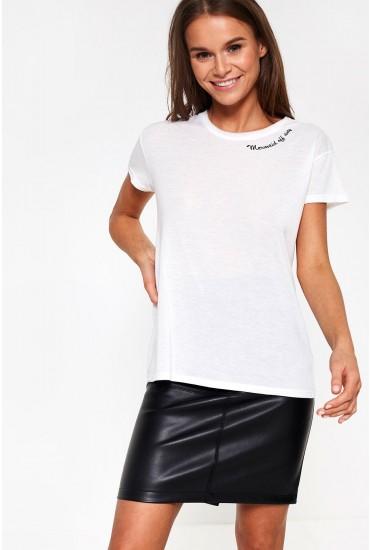 Nixon Mermaid Off Duty Slogan T-shirt in White